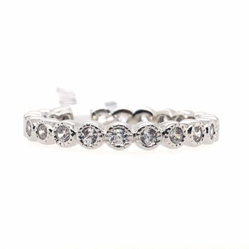 Simulated Diamond Milgrain Eternity Band