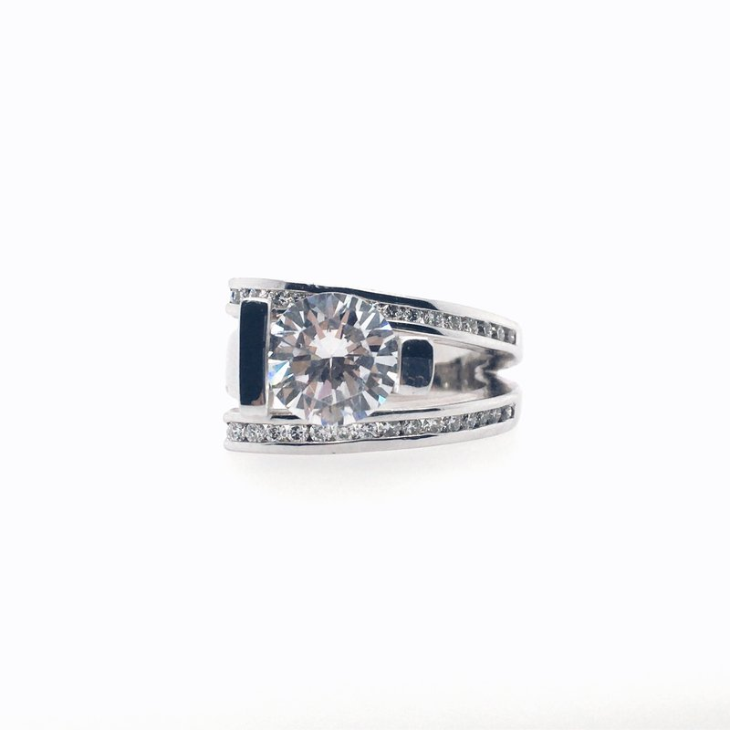 Frank Reubel Semi-Mount Diamond and Cubic Zirconia Ring