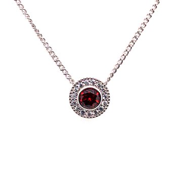 Kelly Waters Round Simulated Garnet Gem Pendant With Simulated Diamonds