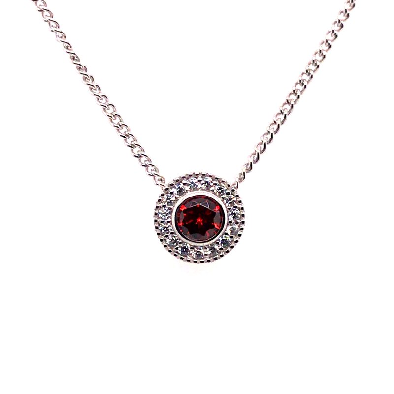 Kelly Waters Kelly Waters Round Simulated Garnet Gem Pendant With Simulated Diamonds