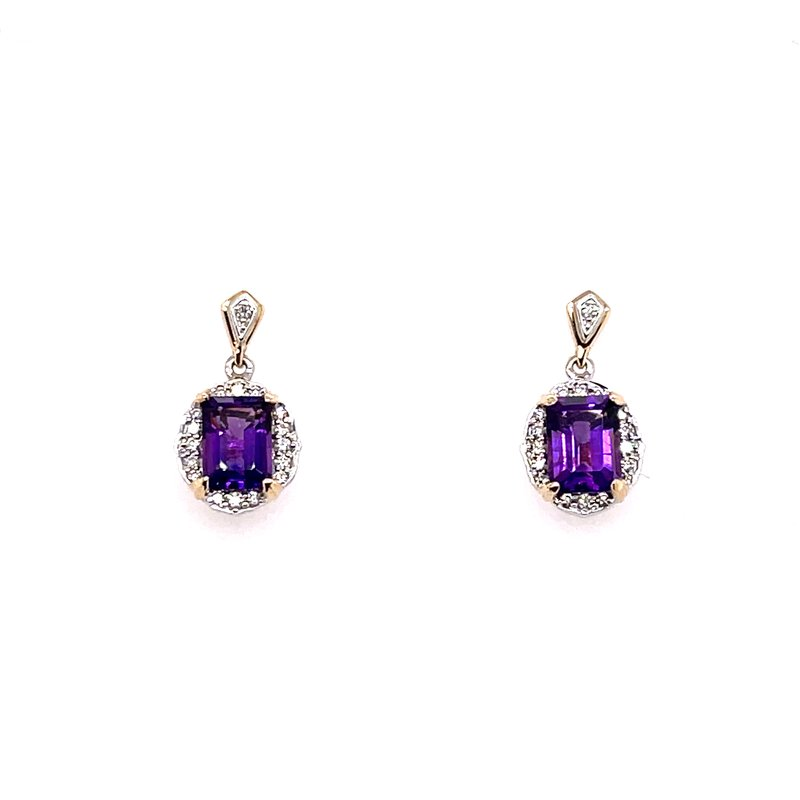 Variety Gem Two Tone White Gold And Yellow Gold Post Drop Diamond And Amethyst Earrings