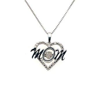 Diamond Rhythm Of Love Heart Mom Pendant