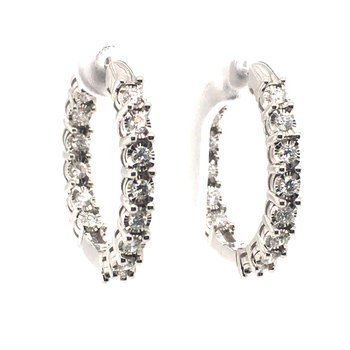 Diamond Round Hoop Earrings