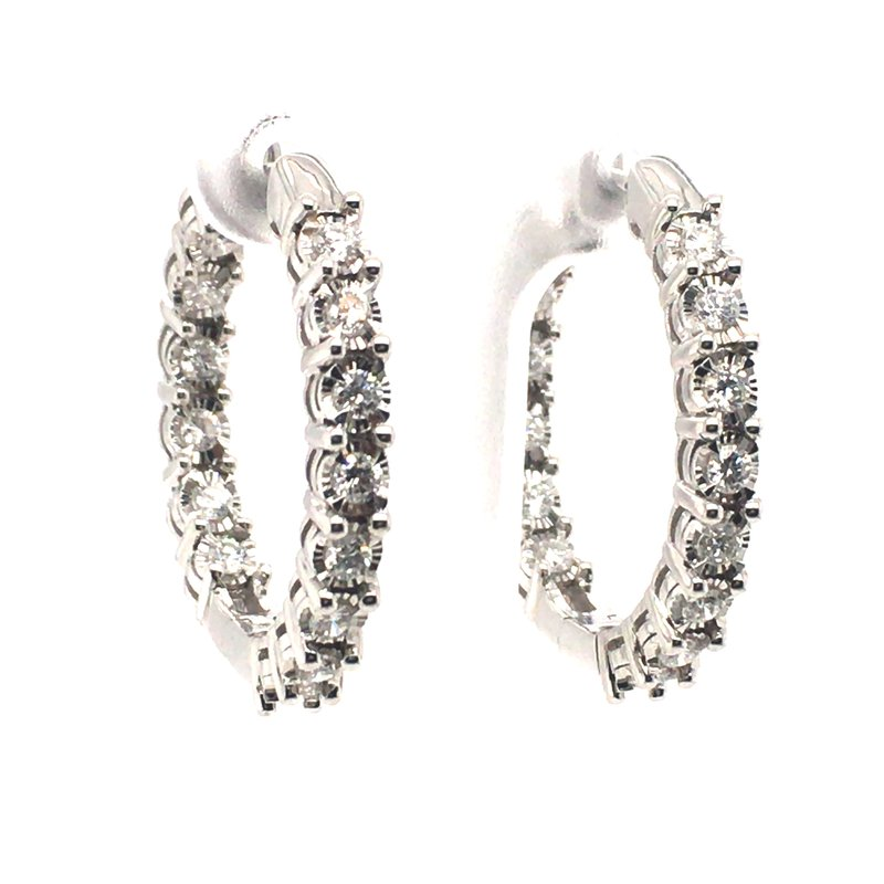 Gems One Diamond Round Hoop Earrings