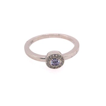 Kelly Waters Micropave Round Simulated Light Amethyst Ring With Simulated Diamonds