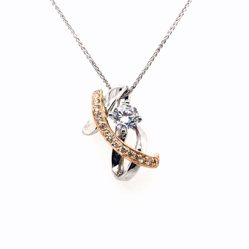 Frank Reubel White and Yellow Gold Cubic Zirconia and Diamond Pendant