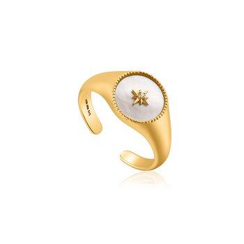 Mother Of Pearl Emblem Adjustable Signet Ring
