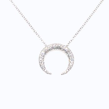 14 Karat White Gold .20 Carat Diamond Pave Moon Necklace