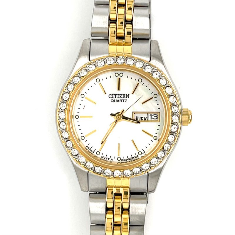 Citizen Citizen Watch With Two Tone Gold Plated, Mother Of Pearl Dial And Stones In Bezel With Quartz Movement
