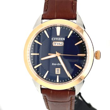 Citizen Watch with Brown Leather Strap, Navy Dial With Rose Gold, and Eco Drive Technology