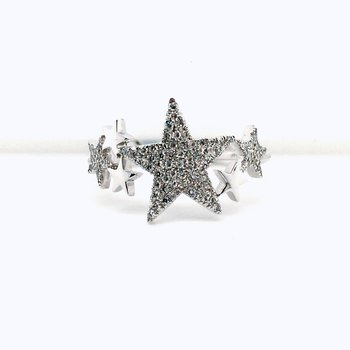 14 Karat White Gold Diamond Shooting Star Ring 0.19 Carat