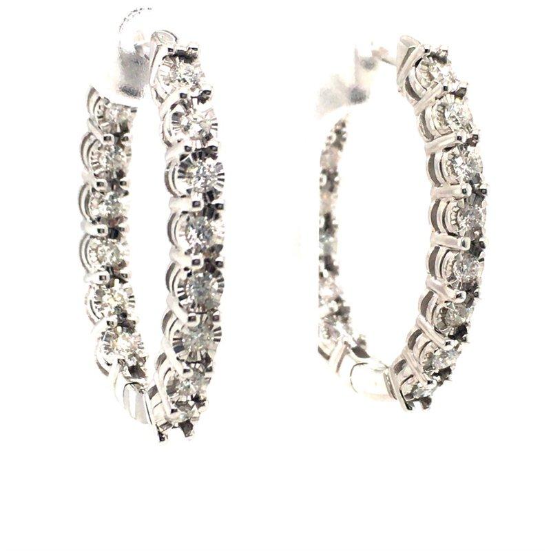 Gems One Diamond Oval Hoop Earrings
