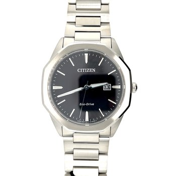 Citizen Watch, Black Dial With Silver Hands And Markings, Eco Drive Technology With Time And Date