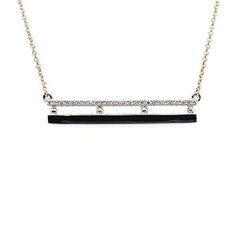 White and Yellow Gold Diamond Double Bar Necklace