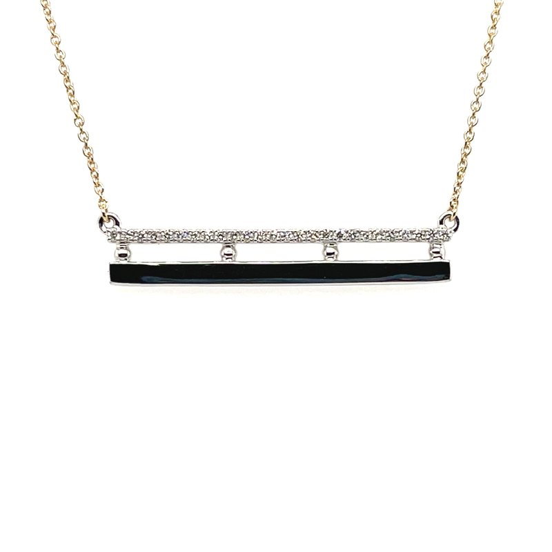 Variety Gem White and Yellow Gold Diamond Double Bar Necklace
