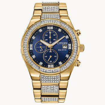 Citizen Watch with Yellow Gold Plated Bracelet, Casing With Crystals, Navy Dial With Chronograph, With Eco Drive Technology, Time And Date