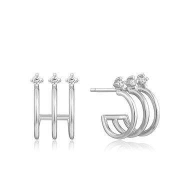 Triple Mini Hoop Stud Earrings
