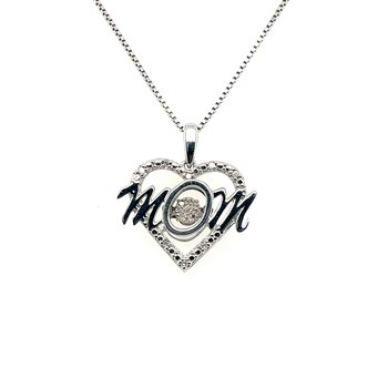 Diamond Rhythm Of Love Heart Mom Pendant