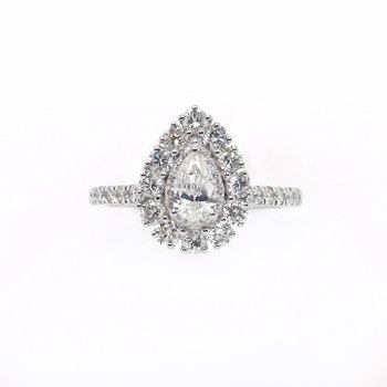 Pear Center with Halo Ring