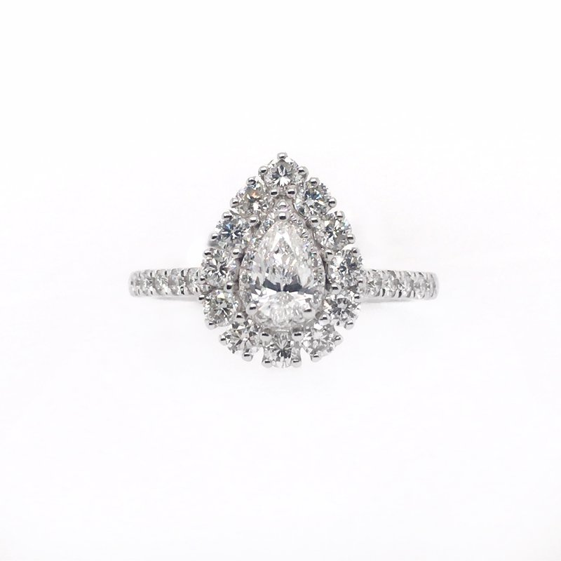 Gems One Pear Center with Halo Ring