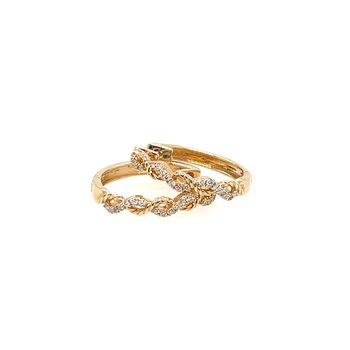 Diamond twist hoop earrings