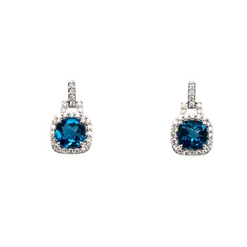 Diamond and Blue Topaz Drop Post Earrings