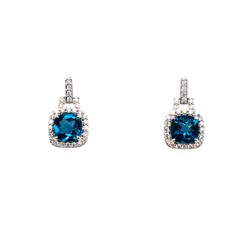 Variety Gem Diamond and Blue Topaz Drop Post Earrings