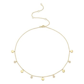 14 Karat Yellow Gold Diamond Pave Circle Choker Necklace