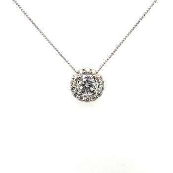 Round Diamond With Halo Pendant