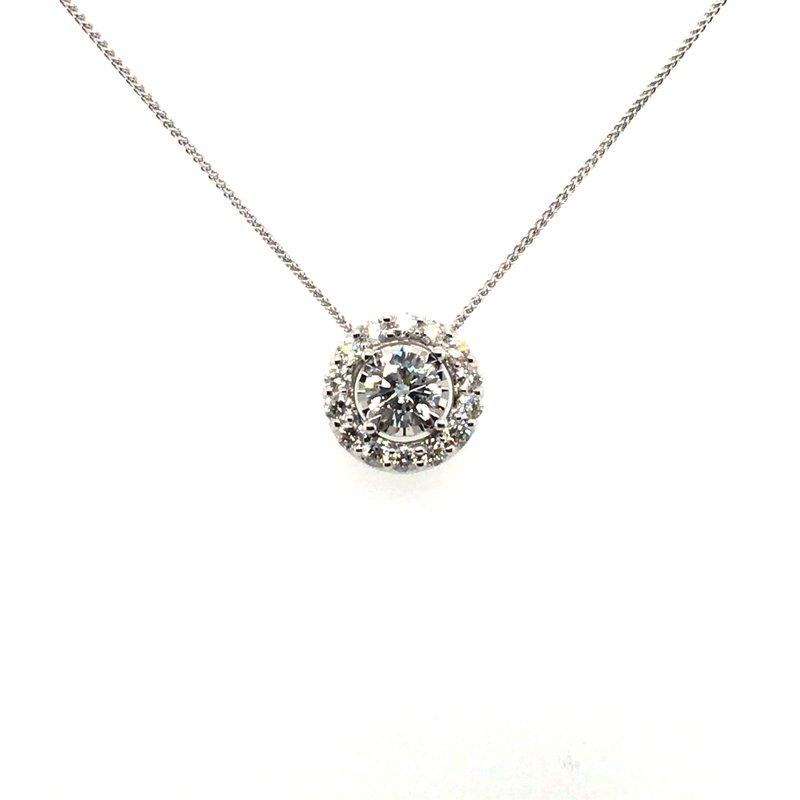 Gems One Round Diamond With Halo Pendant