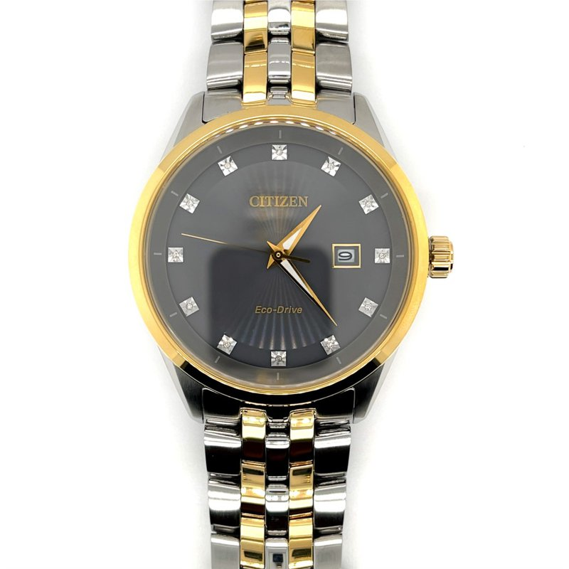 Citizen Citizen Watch with Yellow Gold Plated Bracelet And Casing, Grey Dial With Gold Plated Bezel, Time And Date, Eco Drive Technology