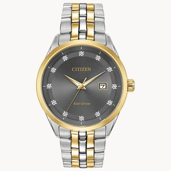 Citizen Watch with Yellow Gold Plated Bracelet And Casing, Grey Dial With Gold Plated Bezel, Time And Date, Eco Drive Technology