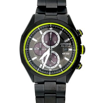 Citizen Stainless Steel Watch with Black Chromatic Finish, Chronograph Eco Drive Technology