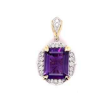 14 Karat Two Tone White Gold And Yellow Gold Round Diamond And Amethyst Pendant