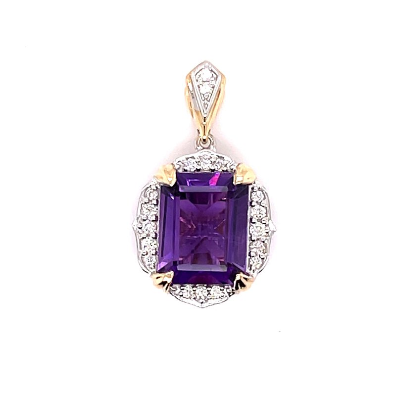 Variety Gem 14 Karat Two Tone White Gold And Yellow Gold Round Diamond And Amethyst Pendant