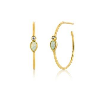 Opal Color Raindrop Hoop Earrings