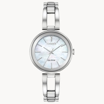 Citizen Watch With Openwork Bracelet And Casing, Mother Of Pearl Dial And Eco Drive Technology
