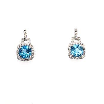 Blue Topaz & Diamond Drop Post Earrings