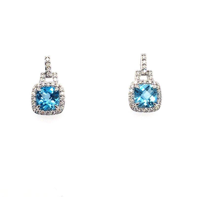 Variety Gem Blue Topaz & Diamond Drop Post Earrings