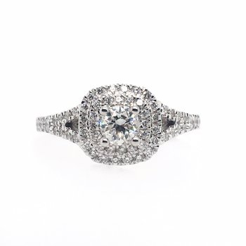 Round Center with Double Cushion Halo Ring