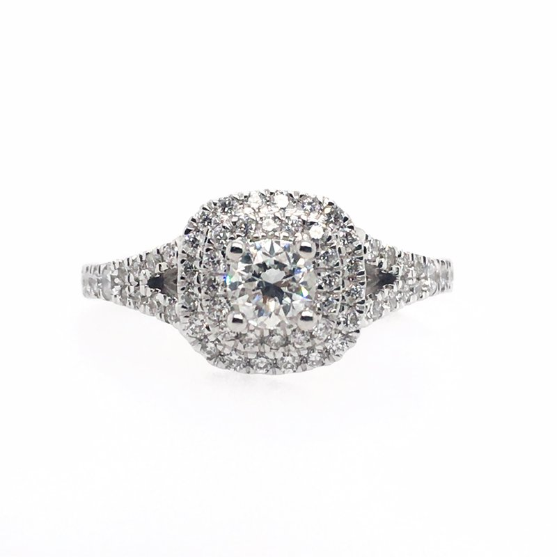 Gems One Round Center with Double Cushion Halo Ring