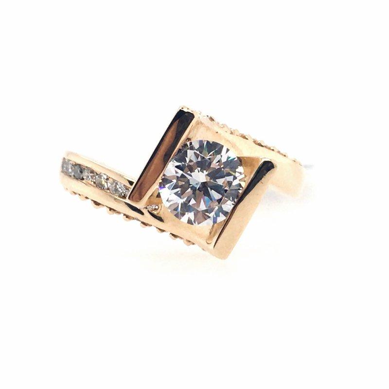 Frank Reubel Semi-Mount Cubic Zirconia and  Diamond Ring