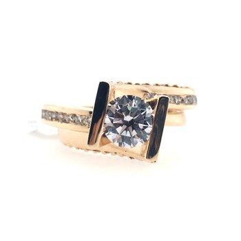 Semi-Mount Cubic Zirconia and  Diamond Ring
