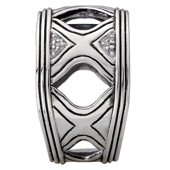 Eleganza Ladies High Polished Sterling Silver Ring with Diamonds