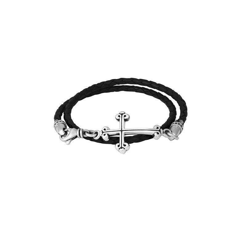 King Baby Thin Braided Leather Traditional Cross Double Wrap Bracelet