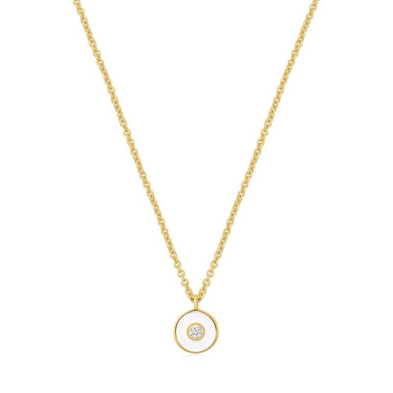 Ania Haie Bright Future Optic White Enamel Disc Necklace