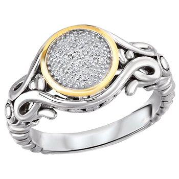 Eleganza Ladies Fashion Diamond Bezel Setting Ring