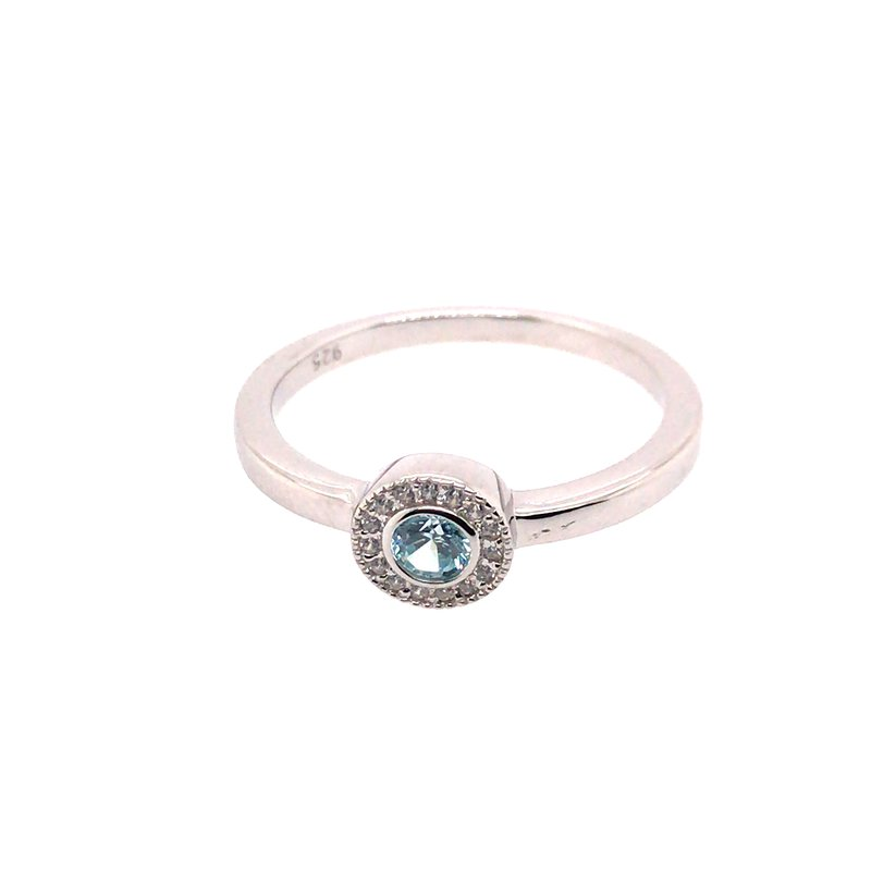 Kelly Waters Kelly Waters Micropave Round Simulated Aquamarine Ring With Simulated Diamonds