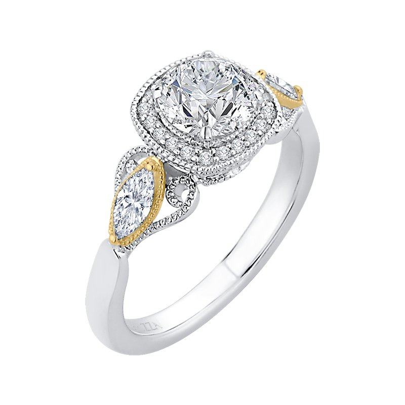 Shay Carizza 14 Karat Two-Tone Gold Round Diamond Halo Engagement Ring (Semi-Mount)
