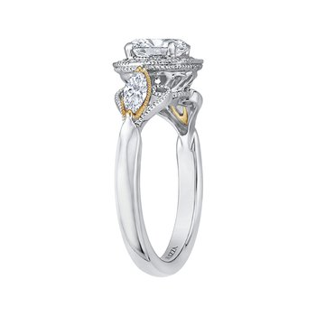 Carizza 14 Karat Two-Tone Gold Round Diamond Halo Engagement Ring (Semi-Mount)